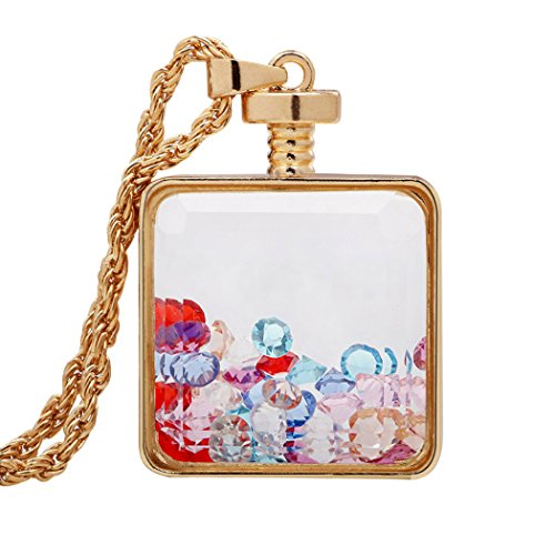 Annabelle Costume Shoes (Real Spark Women Fashion Square Glass Chain Colorful Gemstone Crystal Floating Pendant Sweater Necklace)