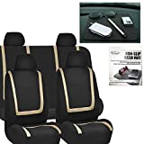 FH GROUP FH-FB032114 Unique Flat Cloth Car Seat Covers, Beige / Black with FH GROUP FH1002 Non-slip Black Dash Grip Pad Mat- Fit Most Car, Truck, Suv, or Van