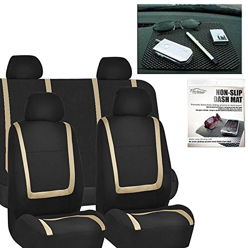 FH GROUP FH-FB032114 Unique Flat Cloth Car Seat Covers, Beige / Black with FH GROUP FH1002 Non-slip Black Dash Grip Pad Mat- Fit Most Car, Truck, Suv, or Van by FH Group