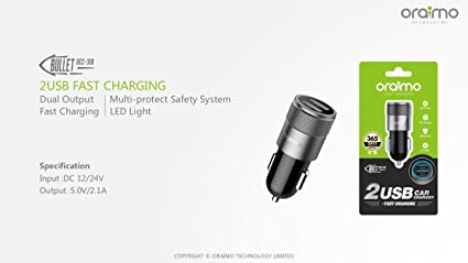 297deaa5a68 Oraimo OCC-31D Dual-Output Car Charger Head - Black: Amazon.in ...