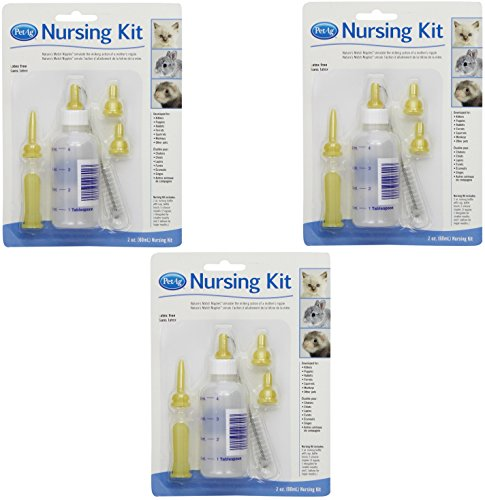 (3 Pack) PetAg Complete Nursing Kits With Replacement Nipples for Kittens or Small Animals - Kitten Nursing Kit