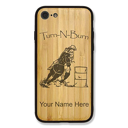 Case Compatible with iPhone 6 and iPhone 6s, Barrel Racer Turn N Burn, Personalized Engraving Included (Bamboo)