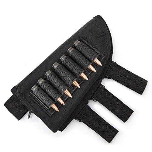 JX Roco Tactical Buttstock Ammo Holder/Shotgun Rifle Shell Holder/Cheek Rest Pouch Ammo Carrier Case/Rifle Stock Nylon