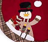 iPEGTOP Christmas Tree Skirt, Snowman Xmas Tree Skirt Holiday Decorations, Cherry Non Woven and Tartan Rim