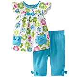 Frogwill Little Girls 2 Pieces Playwear Set with Bow and Applique (3T, Floral)