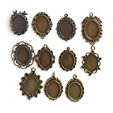 SMALL-CHIPINC - 10pcs 25/18/18x25mm Antiqued Bronze necklace pendant setting cabochon cameo base Tray bezel blank jewelry making findings