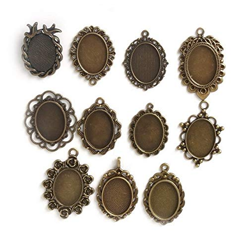 SMALL-CHIPINC - 10pcs 25/18/18x25mm Antiqued Bronze necklace pendant setting cabochon cameo base Tray bezel blank jewelry making findings by SMALL★CHIPINC