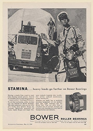 1960 Truck Moving Missile USAF Police Man on Motorcycle Bower Roller Bearings Print Ad (Bower Bearing)