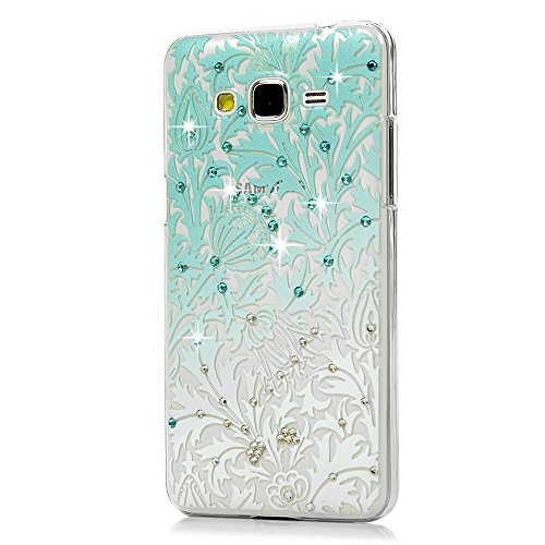 Price comparison product image Galaxy Grand Prime Case,Samsung Galaxy G530 Case - Mavis's Diary 3D Handmade Bling Crystal Shiny Rhinestone Diaonds Special Hollow Floral Gradient Pattern Clear Case Hard PC Cover