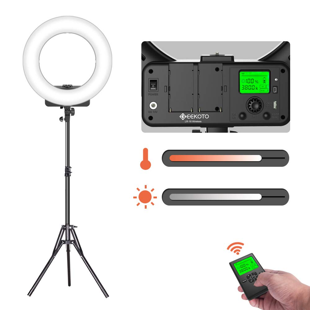 GEEKOTO 18-inch Ring Light with Remote Control and LCD Display Dimmable 3300-5600K for Smartphone and Camera for Live Streaming Makeup Vlogging Selfie