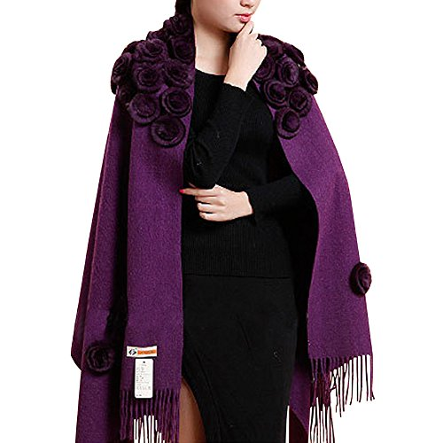 QYQS Women's Exotic Design 100% Pashmina Rabbit Fur Roses Soft Scarf Wrap Party Shawl Purple
