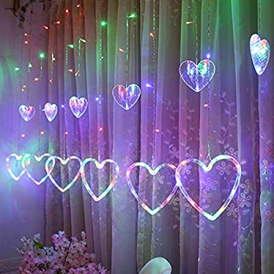 NXDA Heart-Shaped Hanging Curtain Lights Hanging Decorative Lamp String Net Xmas Home Party Home Decor (I) : Garden & Outdoor