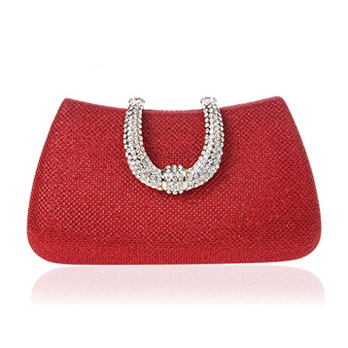 Women Crystal U Diamond Clasp Clutch Bags Glitter Silver Evening Gold Clutch Party Purse Handbag red