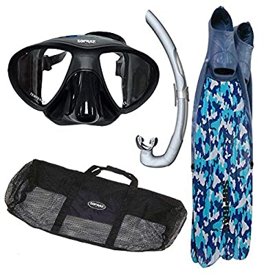Sopras Apnea Freediving Kit Blue Camo Package Long Fins Mask Snorkel Gear Bag For Free Diving Spearfishing, 10-11