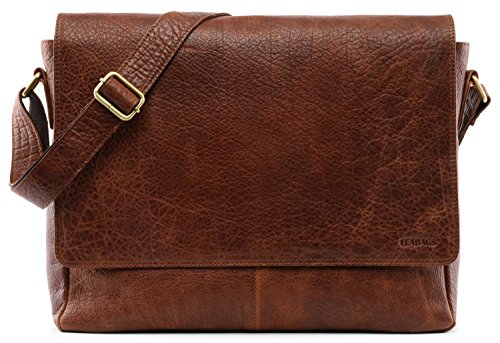 LEABAGS Oxford genuine buffalo leather messenger bag in vintage style - Rosso