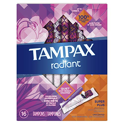 Tampax Radiant Tampons with Plastic Applicator, Super Plus Absorbency, Unscented, 16 Count (Packaging May Vary)