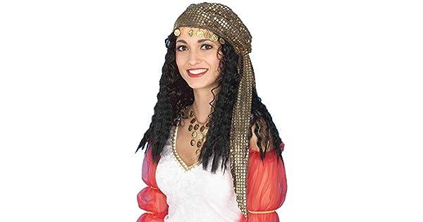 Amazon.com: Gypsy peluca con bufanda Kerchief monedas ...
