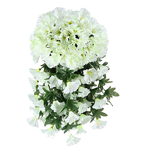 Artificial Hanging Flowers, HO2NLE 4PCS Fake Silk Morning Glory Hanging Vine Plants Faux Flower Hang Garland DIY for Home Garden Wall Fence Stairway Outdoor Wedding Hanging Baskets Decor White -