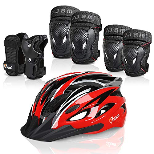 JBM 7 Pieces Protective Gear Set- Bike Helmet for Adult Knee&Elbow Pads and Wrist Guards, Adjustable Cycling Helmet with Visor Safety Pad Set Outdoor Sports Protective Gear Set (Black & Red, Adult)