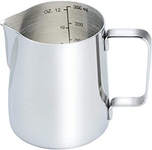 CAMKYDE Stainless Steel Milk Frothing Pitcher 12 oz, Espresso Steaming Pitcher for Espresso Machines, Cappuccino, Latte Art