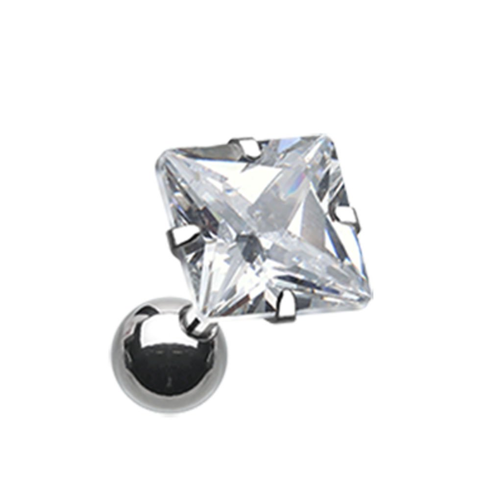 18G Clear Square Gem Crystal Cartilage Tragus Barbell Sold Individually
