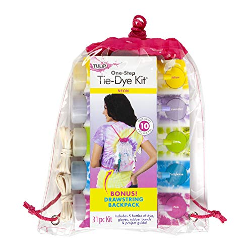 (Tulip One-Step Tie Dye Backpack Kit Neon, 31pc, Party and Craft Supplies, Vibrant Colors for Fashion Art Projects)