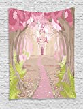 Ambesonne Teen Girls Decor Collection, Path to the Fairy Tale Princess Castle in Fantasy Forest Landscape Artwork Print, Bedroom Living Room Dorm Wall Hanging Tapestry, Green Beige Pink