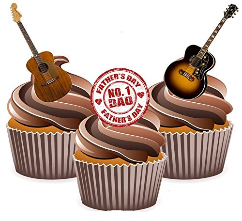 AKGifts Father's Day Guitar Cake Decorations - Edible Stand-up Cup Cake Toppers (pack of 12) (7 - 10 BUSINESS DAYS DELIVERY FROM UK) (Edible Delivery Gifts)