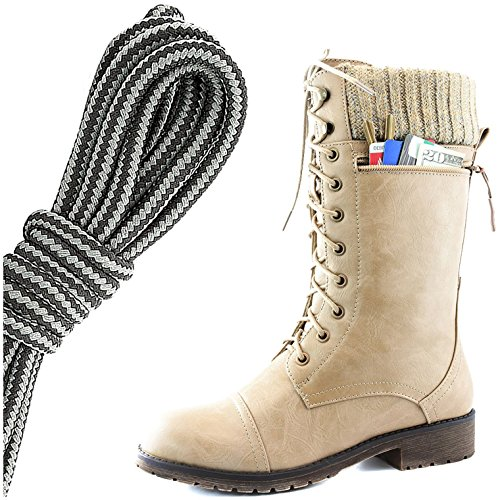 Dailyshoes Womens Combat Stijl Lace Up Enkellaarsje Ronde Neus Militaire Knit Creditcard Mes Geld Portemonnee Pocket Laarzen, Zwart Donkergrijs Beige Pu