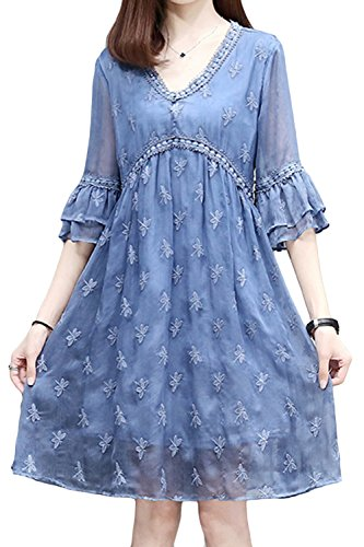 AsherFashion Women Loose Fit Casual Chiffon Dragonfly Flare Sleeve A-Line Dress Blue, US S=Asian Tag L