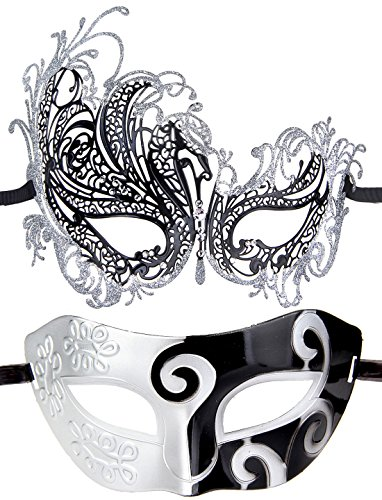 Couples Pair Half Venetian Masquerade Ball Mask Set Party Costume Accessory (Silver&Black)