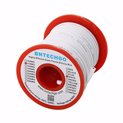 BNTECHGO 14 Gauge Silicone Wire Spool White 25 feet Ultra Flexible High Temp 200 deg C 600V 14AWG Silicone Rubber Wire 400 Strands of Tinned Copper Wire Stranded Wire for Model Battery Low Impedance