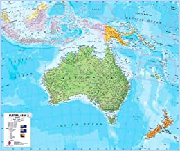 Map Of Australia Tasmania And New Zealand.Australia Australasia Laminated Wall Map Maps International Ltd