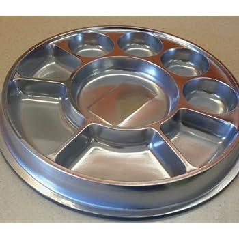 Amazon.com: Silver 9 Compartment Disposable Plastic Plate (Thali ...