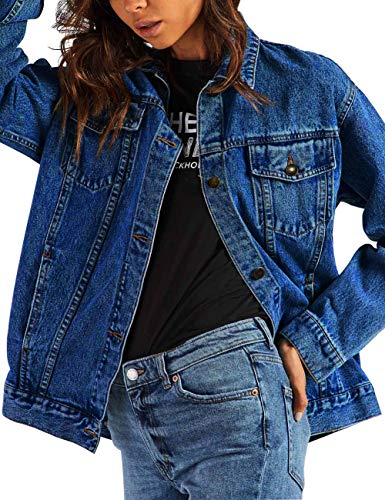 5b4dc9926ad0 Eliacher Women s Boyfriend Denim Jacket Long Sleeve Loose Jean Jacket Coats  - Buy Online in Oman.