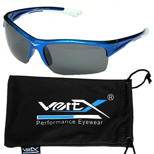 VertX Men's Polarized Sunglasses Sport Cycling Running Outdoor Free Microfiber Pouch – Blue & White Frame Smoke - Discount Glasses Oakley