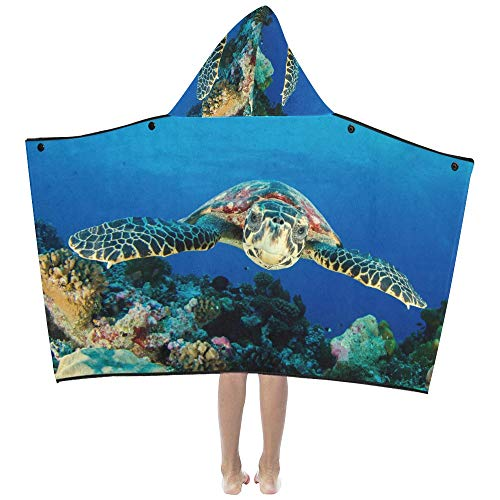 - Flexible Turtle in Blue Ocean Soft Warm Cotton Blended Kids Dress Up Hooded Wearable Blanket Bath Towels Throw Wrap for Toddlers Child Girls Boys Size Home Travel Picnic Sleep Gifts Beach
