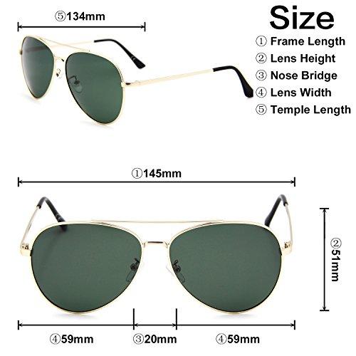 AMZTM - Lunettes de soleil - Homme Or/vert foncé
