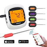 Wireless Meat Thermometer for Grilling, Bluetooth Remote Thermometer Digital Cooking Thermometer with 4 Probes, Alarm Monitor for BBQ Smoker Oven Kitchen,Support IOS & Android