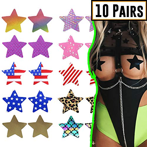 SoJourner Star Rave Pasties Nipplecovers - Nipple Covers Breast Petals for Women | Disposable Self Adhesive Cover (10 Pack)