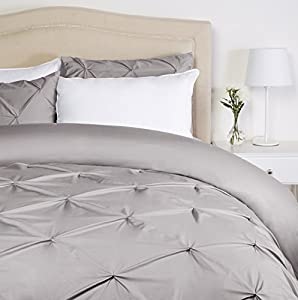 Pinzon Pinch-Pleat Duvet Cover Set - King, Dove Grey