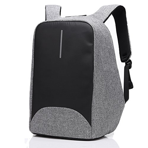 Anti-Theft Travel Backpack with USB Charging Port, LYCSIX66 Shockproof Laptop Bag School Backpack Fits Laptop Up to 15.6 Inch for Men and Women, gray