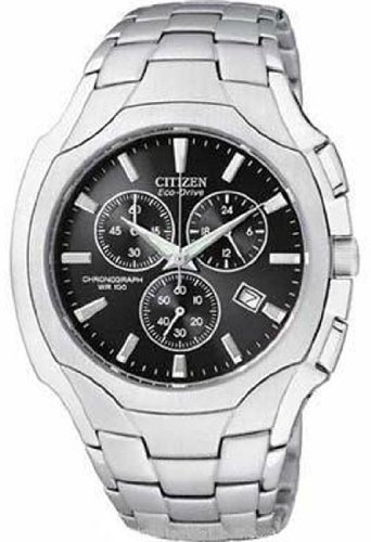 Mens Watch Citizen AT0880-50E Stainless Steel Eco-Drive Black Dial Chronograph ()