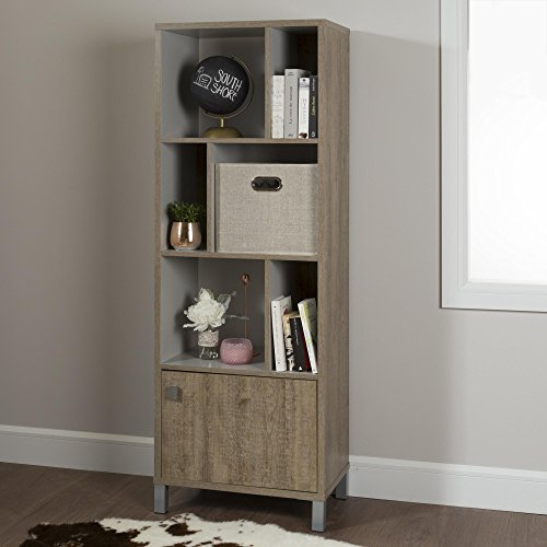 South Shore Expoz 6-Cube Shelving Unit with Door, Weathered Oak and Soft Gray (Oak Shelving Unit)