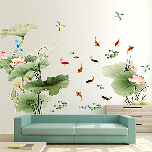DIY Wall Decor Decal Sticker PVC Mural Wall Art Painting Lotus Flower Large Removable Chinese (Diy Wall Decals)