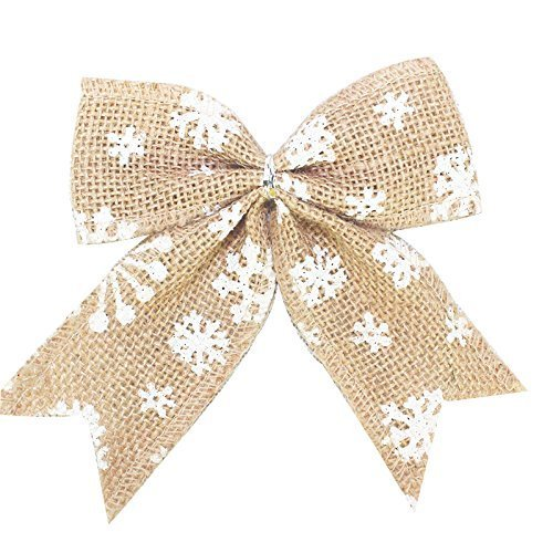 JBNEG 10 Pcs 5.5 Inches Burlap Snowflake Bowknot Bow Tie Ornaments Christmas Tree Decoration Hangs