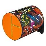 remo Drum, Rhythm Log, 7'' x 8'', With Mallets, Tropical Leaf, Orange