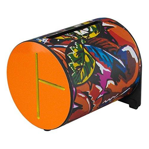 remo Drum, Rhythm Log, 7'' x 8'', With Mallets, Tropical Leaf, Orange by Remo