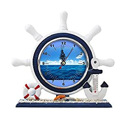 GIRLSIGHT1 Desk/Table Decor Mediterranean Nautical Ship Clocks Living Room Clocks Decoration Blue Sailboat Ornaments-325.Ocean Wallpaper