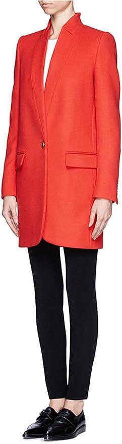 Womens Simple Stand Collar Slim Fit Blazer Woolen Jacket Coat
